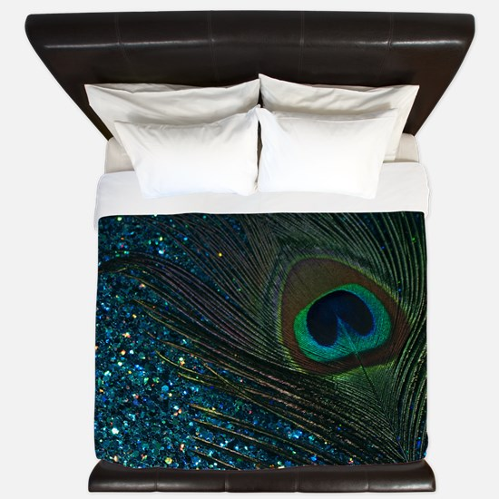 Glittery Aqua Peacock King Duvet