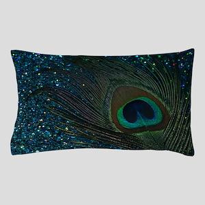 Glittery Aqua Peacock Pillow Case