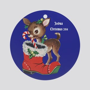 Personalized Vintage Reindeer Ornament (round)