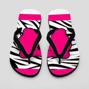 Personalizable Hot Pink Black Zebra Flip Flops