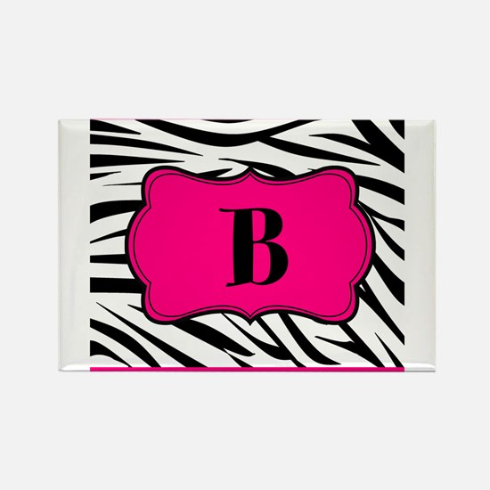 Personalizable Hot Pink Black Zebra Magnets