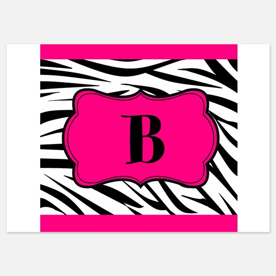 Personalizable Hot Pink Black Zebra Invitations
