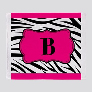 Personalizable Hot Pink Black Zebra Throw Blanket