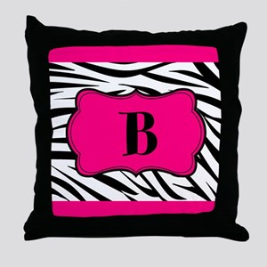 Personalizable Hot Pink Black Zebra Throw Pillow