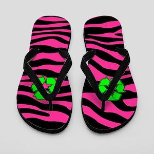HOT PINK ZEBRA GREEN RECYCLE Flip Flops
