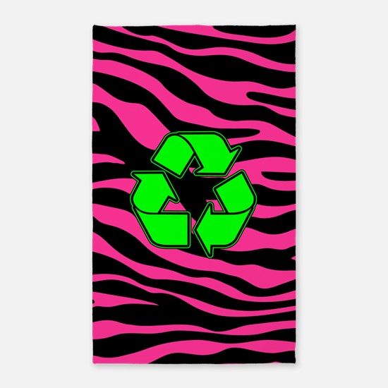 HOT PINK ZEBRA GREEN RECYCLE 3'x5' Area Rug