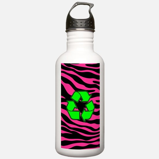 HOT PINK ZEBRA GREEN RECYCLE Water Bottle