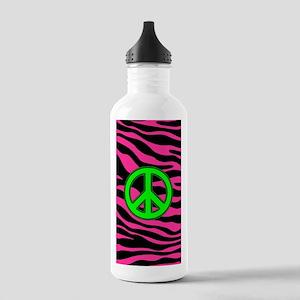HOT PINK ZEBRA GREEN PEACE Water Bottle