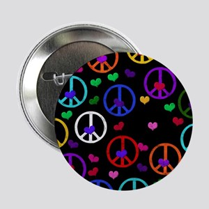 "Rainbow Peace and Hearts 2 2.25"" Button"
