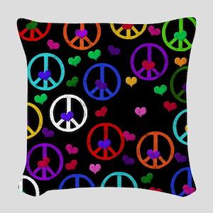 Rainbow Peace and Hearts 2 Woven Throw Pillow