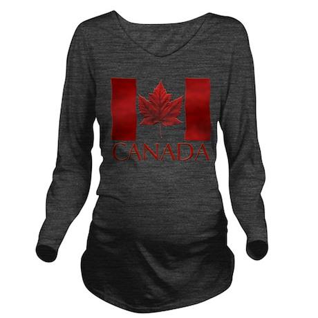 Canada Flag Souvenir Long Sleeve Maternity T-Shirt