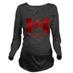 Canada Flag Souvenir Long Sleeve Maternity T-Shirt