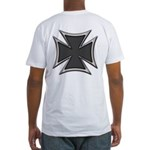 Chrome Black Biker Cross Fitted T-Shirt