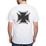Chrome Black Biker Cross White T-Shirt
