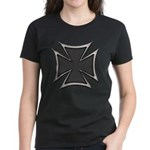 Chrome Black Biker Cross Women's Dark T-Shirt