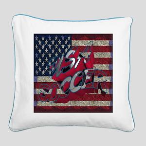 Flag Usa Soccer Square Canvas Pillow
