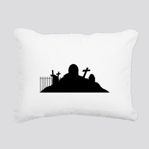Graveyard Silhouette Rectangular Canvas Pillow