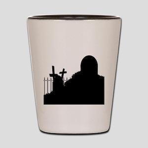 Graveyard Silhouette Shot Glass