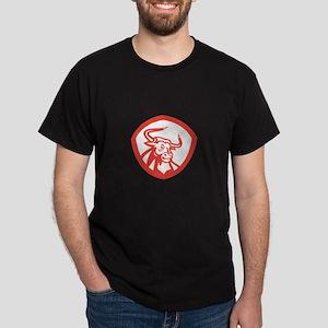 Angry Texas Longhorn Bull Head Shield Retro T-Shir