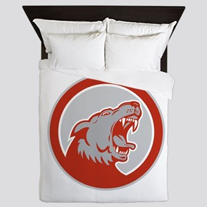 Angry Wolf Wild Dog Head Circle Retro Queen Duvet