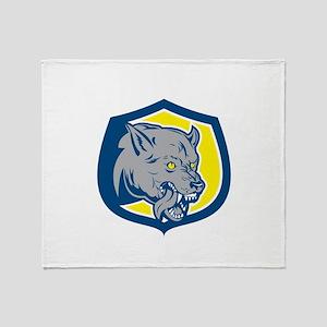 Angry Wolf Wild Dog Head Shield Retro Throw Blanke