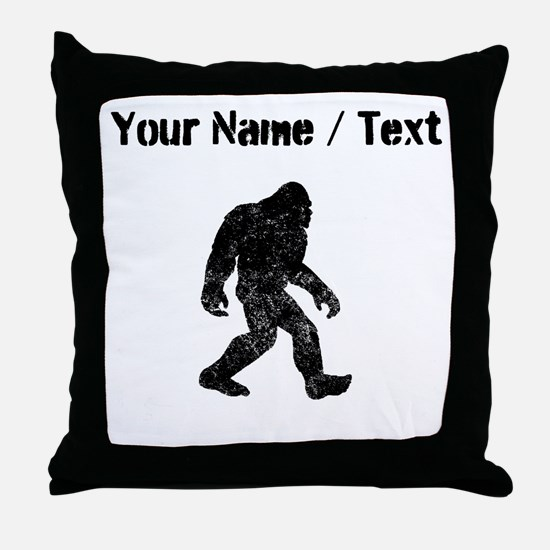 Custom Distressed Bigfoot Silhouette Throw Pillow