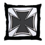 Chrome Black Biker Cross Throw Pillow