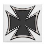 Chrome Black Biker Cross Tile Coaster