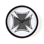 Chrome Black Biker Cross Wall Clock
