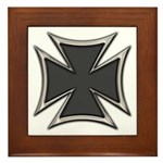 Chrome Black Biker Cross Framed Tile