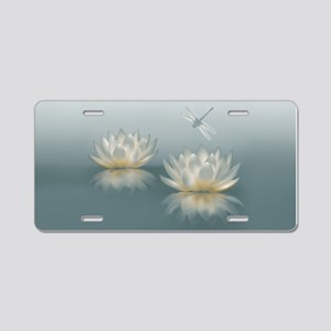 Lotus And Dragonfly Aluminum License Plate