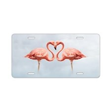 Pink Flamingos In Love Aluminum License Plate