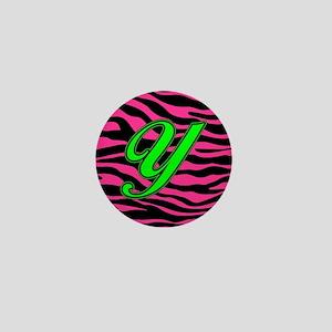 HOT PINK ZEBRA GREEN Y Mini Button