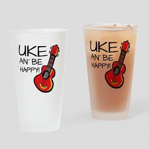UkeHappyOutline Drinking Glass