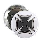 Chrome Black Biker Cross Button