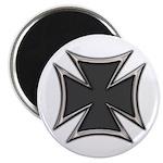 Chrome Black Biker Cross Magnet