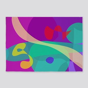 Bright Happy Abstract Purple and Green 5'x7'Area R