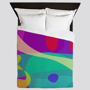 Bright Happy Abstract Purple and Green Queen Duvet