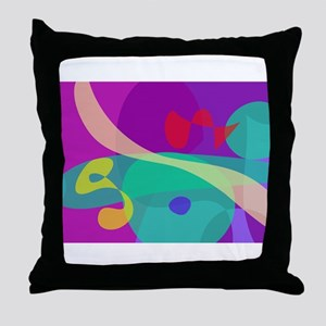 Bright Happy Abstract Purple and Green Throw Pillo