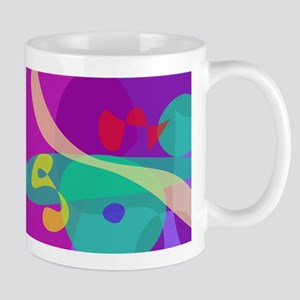 Bright Happy Abstract Purple and Green Mugs
