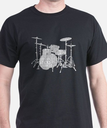 Drum Set Shaped Word Cloud T-Shirt