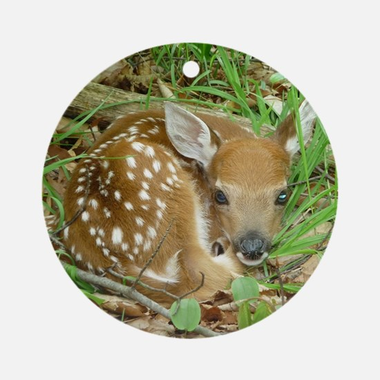 spotted fawn Round Ornament