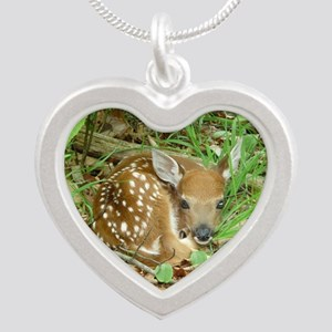 spotted fawn Silver Heart Necklace