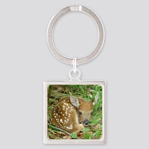 spotted fawn Square Keychain