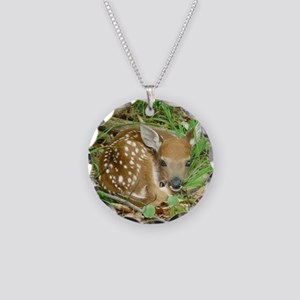 spotted fawn Necklace Circle Charm