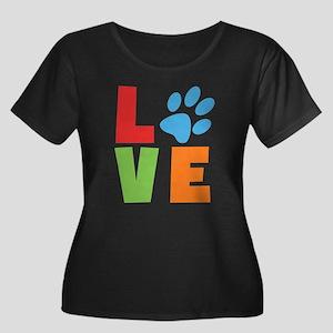 L(paw)V Women's Plus Size Scoop Neck Dark T-Shirt