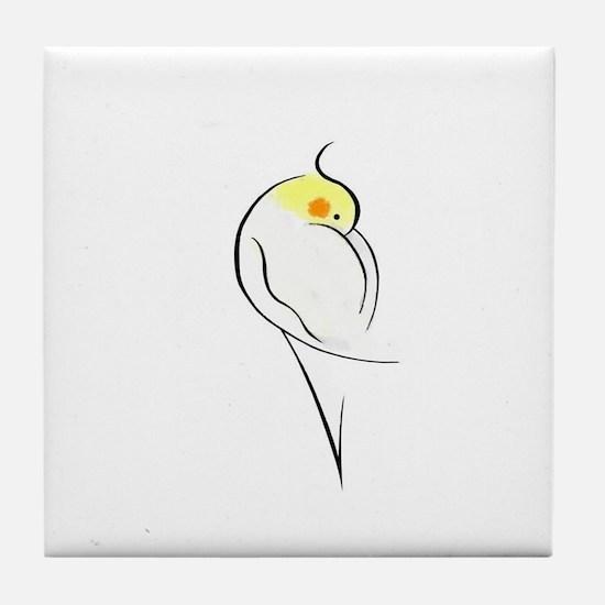 Lutino Cockatiel Tile Coaster