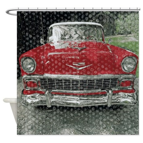 Classic Red Fifties Car Shower Curtain by rebeccakorpita