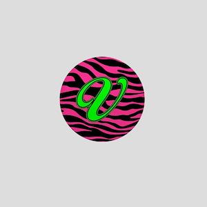 HOT PINK ZEBRA GREEN V Mini Button