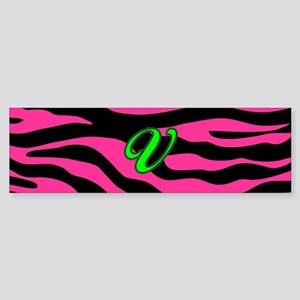 HOT PINK ZEBRA GREEN V Bumper Sticker